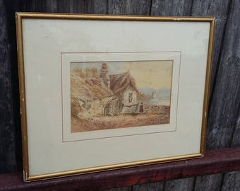 Original Vintage Watercolour View of Lake or Loch and Castle from a Cottage.
