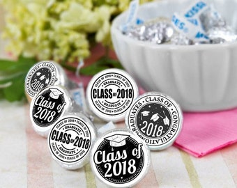 108 Class of 2018 Hershey Kiss® Stickers - Hershey Kiss Stickers Graduation- Personalized Hershey Kiss Labels - Graduate Hershey Kiss Seals