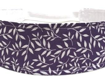 Purple Headband for Women, Adult Headband, Womens Headband - Purple Plum & White Vines, Leaves - Botanical Headband - PLUM PURPLE BOTANICAL