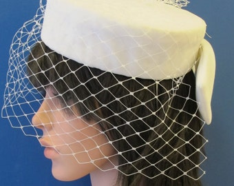 White Velvet Pillbox Hat with Veil