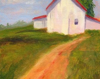 Original 5x7 Oil Painting of a Sunny Home along a Dirt Road