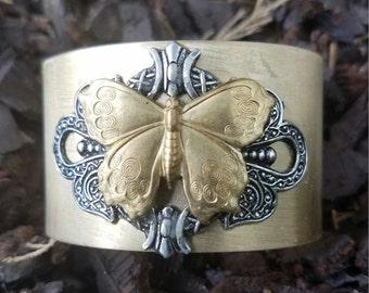 Butterfly Brass Cuff Bracelet