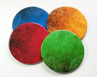 Circuit Board Coasters, Drink Coasters, Hostess Gift, Coasters, Geekery, Tableware, Barware, Blueprint, Gift for Geek, Nerd (5060)