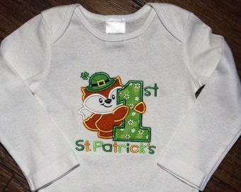Boy 1st St. Patrick's Day bodysuit,girl 1st St. Patrick's Day bodysuit,First St. Patrick's Day shirt,Fox bodysuit,Shamrock shirt