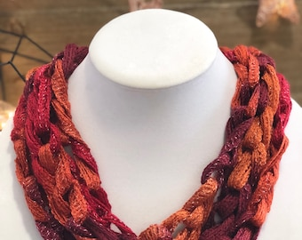 Orange and Berry Scarf/Necklace - Many Colors Available!