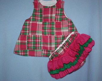 Sweet Hot Pink Green Spring Plaid A-Line Dress or Top with Sassy ruffle Bloomers