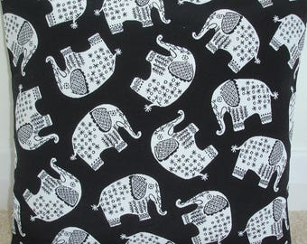 "16x16 Pillow Cover Elephant Black and White 16"" Throw Accent Decorative Cushion Slip Sham Case Pillowcase Elephants"