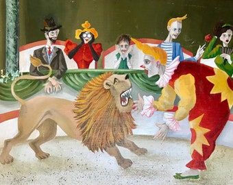 Clown with lion at the circus (vintage oil painting)