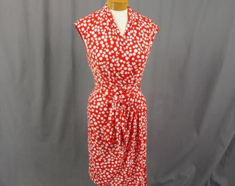 Red and White Polka Dot Dress, Summer Sundress, Wrap Dress, Sleeveless Red Dress, Pencil Skirt Dress