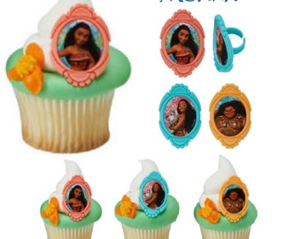 Moana Cupcake Toppers - 12 - Cupcake Topper Rings, Moana Cake Toppers, Moana Birthday Party Cupcake Toppers, Moana Party, Moana