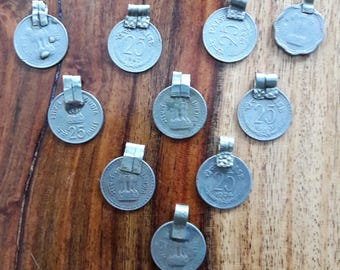 Authentic antique Indian Banjara coins, prepared as application for clothing or bags