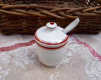 Vintage French Mustard Pot, Mustard Jar, Lid, Spoon by Apilco, White Ironstone Condiment Jar, Made in France Farmhouse Kitchen