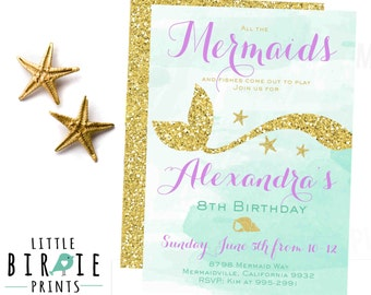 MERMAID INVITATION - Mermaid Birthday Invitation - Gold Glitter Mermaid Invitation Purple