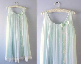 Vintage Green Nightie | 1960s Pale Green & White Chiffon Nightie M