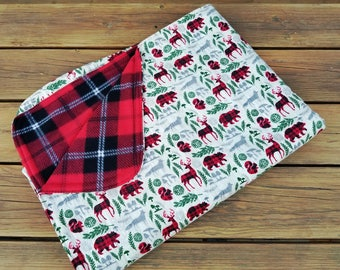 Animal Throw Blanket, Fleece and Flannel, Holiday Blanket, Woodland Animals, Holiday Quilt,Bears Squirrels Deer,Lap throw,Christmas Blanket