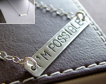 "Custom Necklace - Hand Stamped Sterling Silver - Personalized Charm Jewelry - 1.5"" Connect Bar Necklace (Double-Side Stamping)"