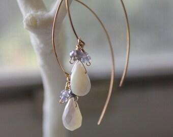 Mother of Pearl, Iolite and Labradorite Hook-type Earrings - Handmade