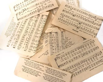 Music Paper Scrap Pieces Emphera Vintage Hymnal Pages
