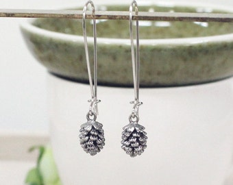 Tiny Pine Cone  Earring, winter jewelry, silver pine cone,best friend,tiny earring, dangle earring
