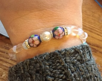 Beaded Stretchy Bracelet with Cloisonne and Pearl accents