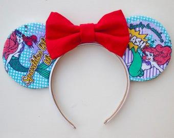 The Little Mermaid Mouse Ears / Disney Ariel / Mermaid Disney Ears / Disneyland / Gift for her / Mermaid Party Theme / Minnie Mouse Ears