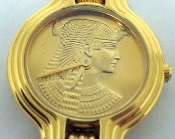 Vintage Cleopatra Bracelet Watch - Franklin Mint - Chunky Golden Links With Lapis - Great Condition - 1988 - 22k GP