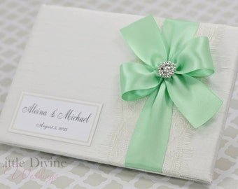 Wedding Guest Book Off White Mint Custom Made in your Colors