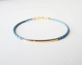 Gold bar bracelet - friendship bracelet - Blue