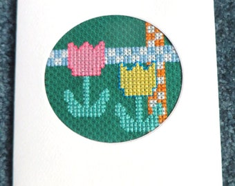 Cross Stitch Greeting Card, Flower Card, Completed Handmade Greeting Card, Spring Tulips, Blank Inside, Handmade Thank You Card