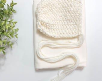 Newborn wrap and bonnet set,newborn bonnet,acrylic bonnet set,wrap set bonnet,baby bonnet,baby hat,light brown bonnet,neutral bonnet,yellow