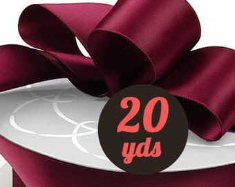 "Satin Burgundy Wine Ribbon - 7/8"" wide at 20 yards"