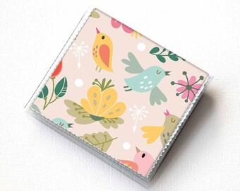 Handmade Vinyl Moo Square Card Holder - Amazing / case, vinyl, snap, wallet, paper, mini card case, moo case, square, birds, floral, pink