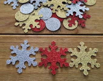 100 Snowflake Confetti, Snowflake decoration, Holiday Confetti, Christmas Confetti, Silver Snowflake, Gold Snowflake, Snowflake die cut