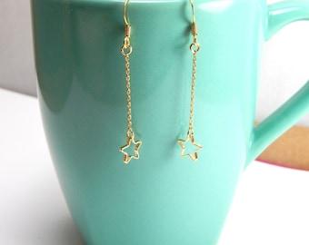 Gold star dangle earrings, gold earrings, hanging star earrings, tinny star earrings, everyday earrings, gold star, star jewelry 187
