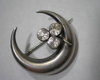Antique Vintage Silver Mine Cut Diamond Paste Crescent Moon Pin Brooch