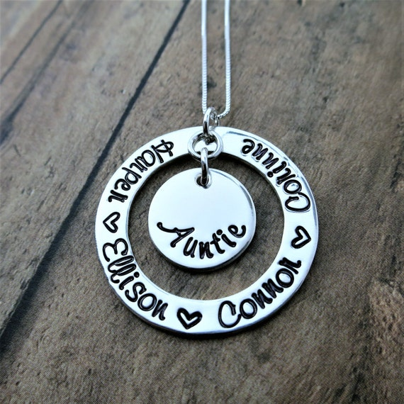 Auntie Necklace - Personalized Family Jewelry - Bubbie - Bubbe - Mom - Nanny - Granny - Sterling Silver Washer - Custom Mommy Jewelry - Gift