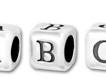 Sterling Silver Letter Bead - Sterling Silver Initial Bead - Add on Letter - Add on Initial - Alpha Bead - Square Letter Bead