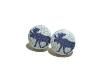 Moose Earrings, Button Post Earrings, Small Fabric Studs, Cover Button Jewelry, Nickel-free Earrings, Titanium Jewelry, Antlers