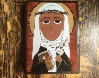 4X 6 ish inch  Saint Catherine of Sienna Byzantine Folk Icon Print on Wood