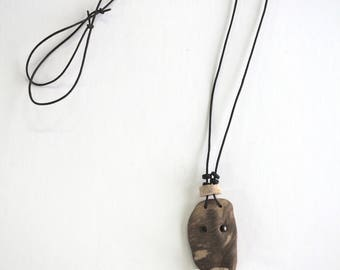 Necklace sculpture, wood pendant to strike, driftwood, Voodoo protection necklace, mixed media, handmade