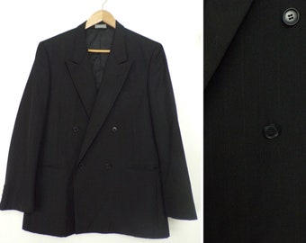 80s Black Red & Blue Pinstriped Double Breasted Blazer Mens Size 42R, Double Breasted,Mens Sport Coat,Pinstriped Blazer,Classic Black Blazer