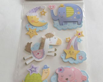Scrap-booking Stickers Paper Craft Baby New baby Moon Elephant Sleeping Shooting star colorful Autocollants Six (6)