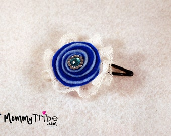 Girls Blue Hair Clip Blue and White Ribbon Flower Hair Clip Swarovski Hair Clip  Elegant Hairpin