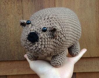 Handmade crochet wombat- stuffed animal wombat- knit plush wombat- handmade chubby wombat- stuffed toy wombat
