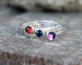 NATURAL BIRTHSTONE STACKING Ring - Silver, Gold, Rose Gold - Birthstone Stacking Ring - Birthstone Ring - Gemstone Ring - mother's ring