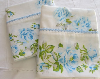 Vintage Double Flat Sheet and Pillowcases Set - Blue Roses  - 70s Linen - Cutter Fabric - Retro Linen - Tex Made - Cottage Chic