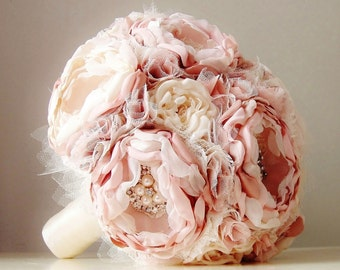 Fabric Wedding Bouquet,  Brooch Bouquet,  Weddings,  Vintage Style Bridal Bouquet, Handmade Fabric Bouquet - this is a 50% DEPOSIT ONLY
