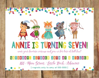 Costume Birthday Invitations - Personalized Printable - 5x7 DIGITAL file - Halloween Party - Dress Up - Animal Costume