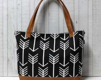 Black Arrows with Vegan Leather - Tote Bag /  Diaper Bag /  Medium Bag -