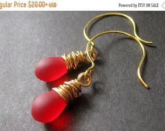 MOTHERS DAY SALE 14K Gold Wire Wrapped Earrings - Lipstick Red Frosted Glass Drop Earrings. Dangle Earrings. Handmade Jewelry.